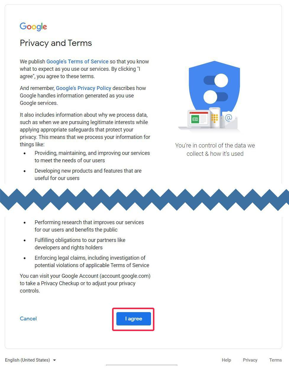 Step-by-step guide to leaving a Google My Business review without using your Gmail account in 2021 - Agree with privacy terms