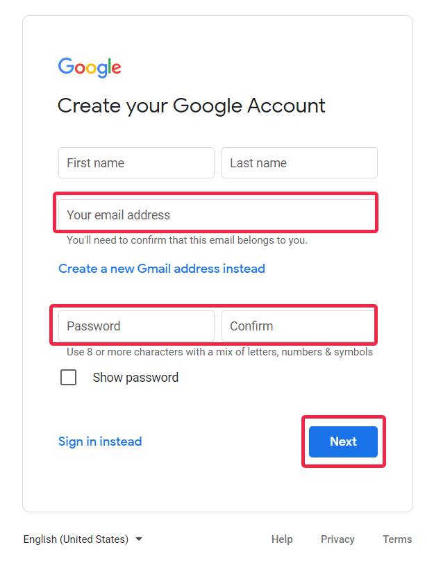Step-by-step instructions on how to leave a GMB review without a Gmail account in 2021 - add your existing email address