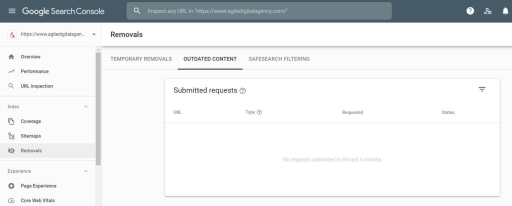 search console removals outdated content